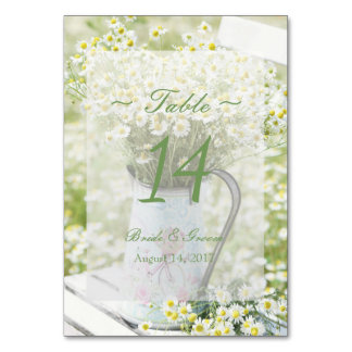 Summerfield Daisies Camomile Wedding Table Number Table Cards