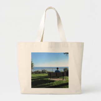 Summerland: Man Contemplates Ocean Tote Bag