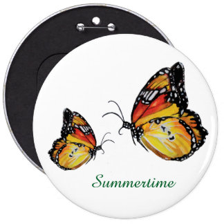 Summertime butterfly drawing Round Badge