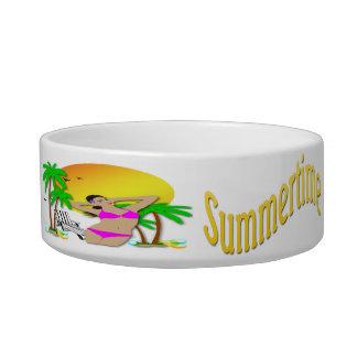 Summertime - Girl Cat Pet Bowl