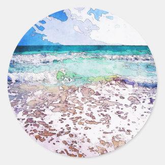 Summertime Ocean Waves Round Sticker