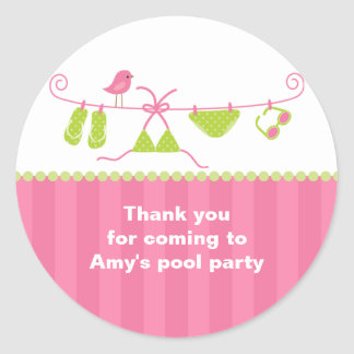 Summertime Pink and Green Bathing Suit Stickers Round Sticker