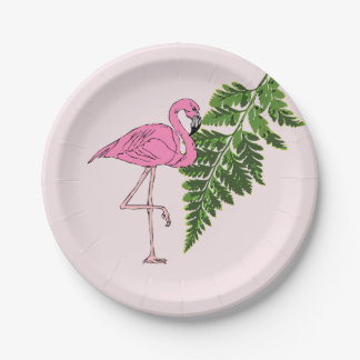 Summertime Pink Flamingo and Green Fern Leaf Paper Plate