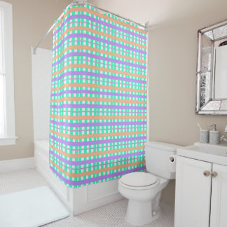 Summertime-Plaid's-Robin's-Egg-Bath-Decor Products Shower Curtain