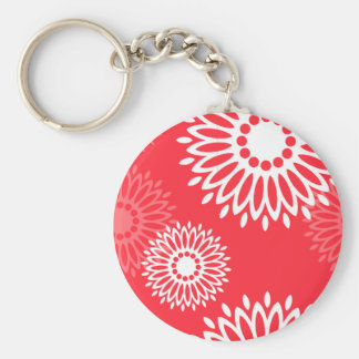 Summertime red flowers Keychain
