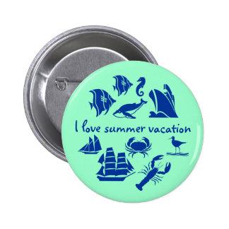 Summery beach vacation 6 cm round badge