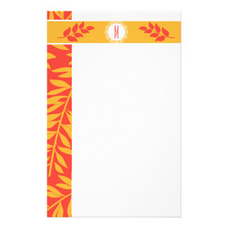 Summery Coral Orange and Golden Yellow Monogram Stationery Design