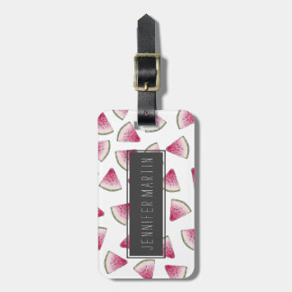 Summery Cute Watercolor Watermelon Slices Pattern Luggage Tag