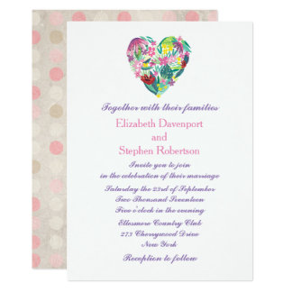 Summery Floral Heart in Pink and Green Wedding Card