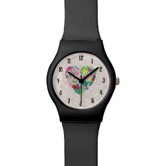 Summery Floral Heart in Pink and Green Wristwatch
