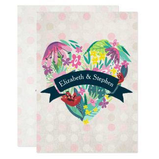 Summery Floral Heart with Ribbon Wedding Card