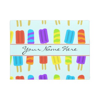Summery Fun Ice Lolly Pattern with Name Doormat