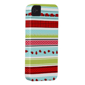 Summery Ladybug Stripes iPhone 4 Case