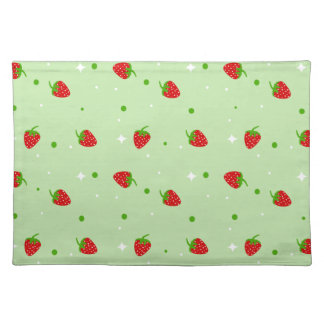 Summery Strawberries pattern on green background Placemat