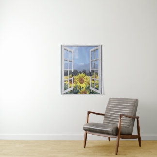 Summery Sunflowers Wall Hanging Tapestry