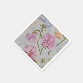 SUMMERY SWEET PEAS DISPOSABLE SERVIETTE