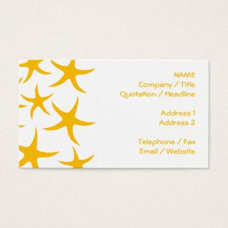 Summery Yellowy-Orange Starfish Pattern. Business Card