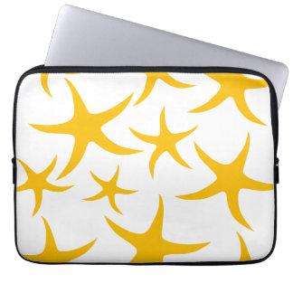 Summery Yellowy-Orange Starfish Pattern. Laptop Sleeve