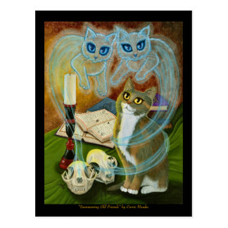 Summoning Old Friends, Ghost Cat Art Postcard