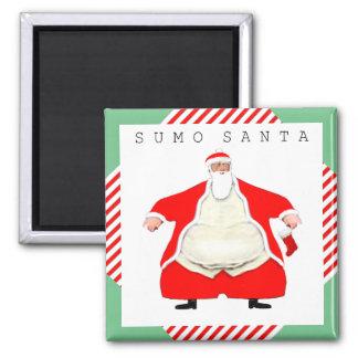 Sumo Wrestler Santa Square Magnet