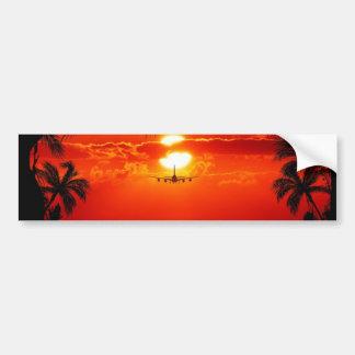 sun-251455 sun sunset jet plane tropical red black bumper stickers