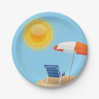 Sun and Beach Umbrella Paper Plate