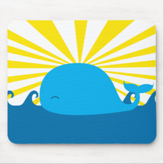 Sun and Blue Whale Mousepad