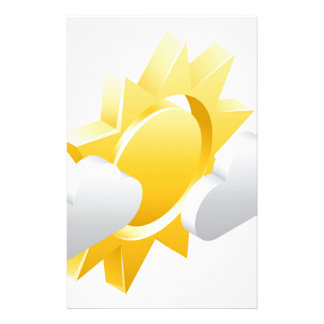 Sun and Clouds 3d Weather Icon Concept Stationery