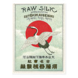 Sun And Crane Bird Vintage Japanese Silk Label Postcard