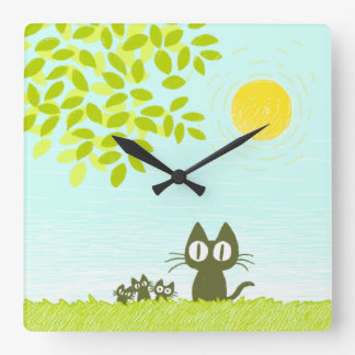 Sun and Leaves and Black Cat Wallclock