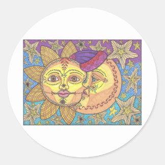 Sun and Moon 2 Round Sticker