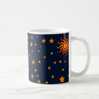 Sun and Moon and Stars Coffee Mug Orange