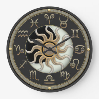 Sun And Moon Astrology Symbols Large Clock