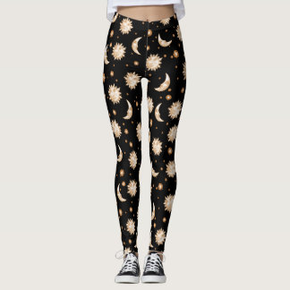 Sun and Moon Black Leggings