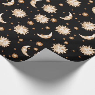 Sun and Moon Black Wrapping Paper