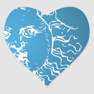 Sun and Moon Blue and White Heart Sticker