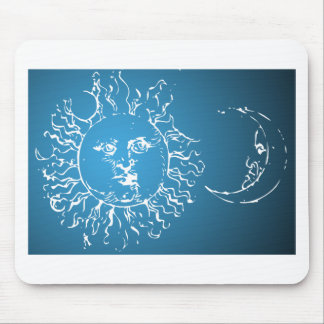 Sun and Moon Blue and White Mousepads