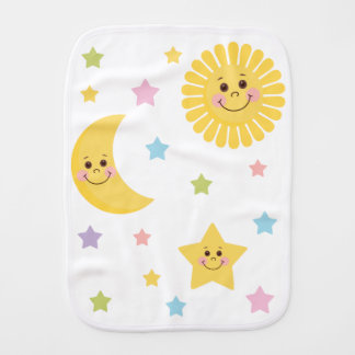 Sun and Moon Burp Cloth