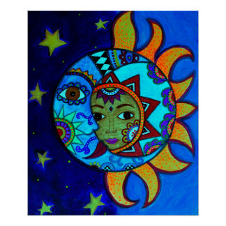 SUN AND MOON COUPLE WHIMSICAL PAINTING POSTER