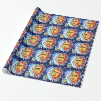 Sun and Moon Design Wrapping Paper
