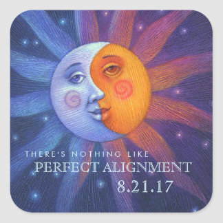 Sun and Moon Eclipse Perfect Alignment Square Sticker