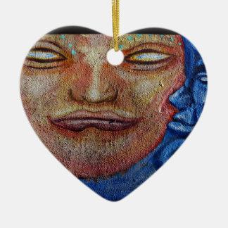 Sun and Moon Face Graffiti Ceramic Heart Decoration