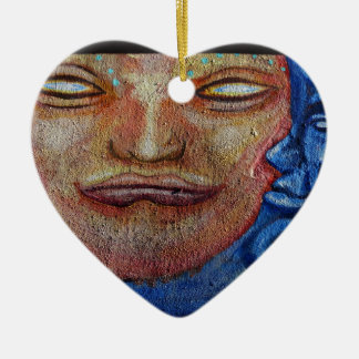 Sun and Moon Face Graffiti Christmas Ornament