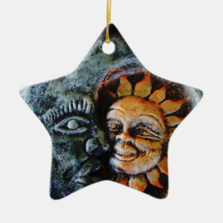 Sun and Moon Faith Star Ceramic Star Decoration