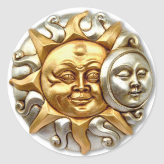 SUN AND MOON FUSION METALLIC DESIGN ROUND STICKER