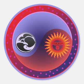 Sun and Moon in Balance Round Sticker