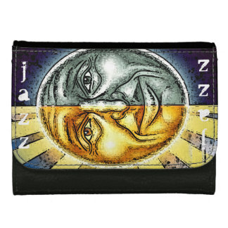 Sun and moon jazz leather wallet