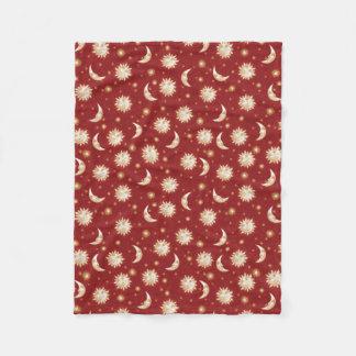 Sun and Moon on Red Fleece Blanket