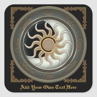 Sun and Moon Pagan Wheel Bookplate Square Sticker