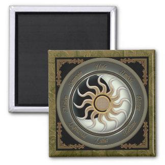 Sun and Moon Pagan Wheel Magnet